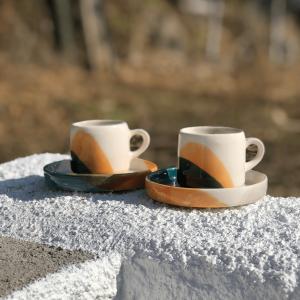 Duo Cups and Saucers Aguarela