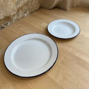 Assiette émail blanc & bleu